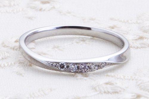 結婚指輪 K18ホワイトゴールド ピンクダイア 5万円台