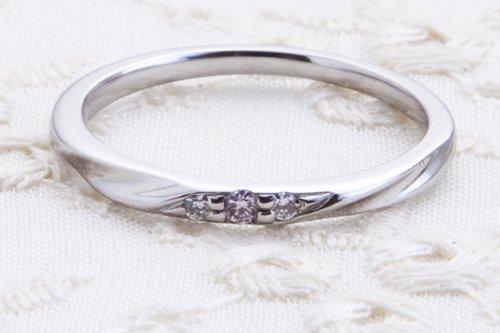 結婚指輪 ピンクドルフィンダイアモンド K18ホワイトゴールド 5万円台