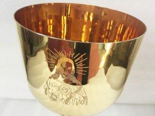 ソルフェジオ周波数528HZ キリスト彫刻入り  チタニウムゴールド  5インチC