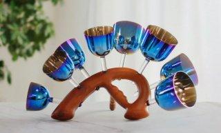 チタニウムブルー7チャクラセット 3.5インチから5 インチまで 木製台付き
