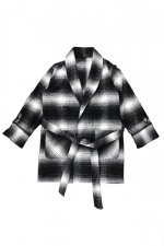 PLAID GOWN COAT(BLACK)