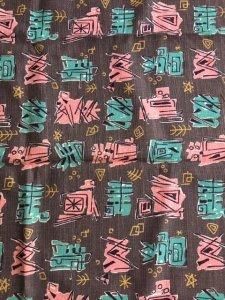1950sファブリック・グレーXピンクX水色