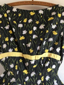 1950sヴィンテージワンピース 黄・白花柄