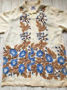 1950s KAHANAMOKU ヴィンテージハワイアンシャツ・花柄ホリゾンタルパターン