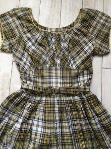 1950s ヴィンテージワンピース・黄色X黒X白チェック柄