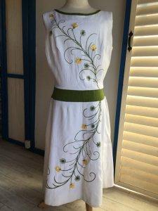 ヴィンテージ・ワンピース 白X緑 黄色花