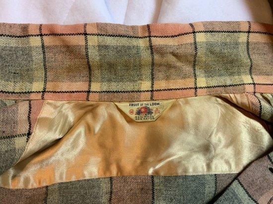 ヴィンテージ・FRUIT OF THE LOOM グレーXピンク・ウールシャツ
