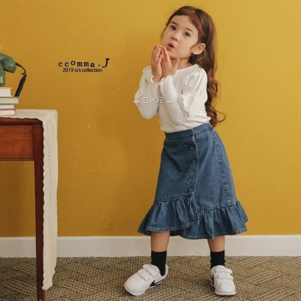 【ご予約】Denim Frill Long Skirt|韓国子供服 Hulule(フルレ)