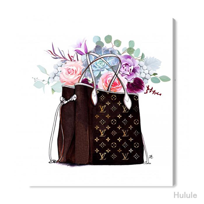 日本未入荷・オリバーガル(Oliver Gal)(33x41cm〜91x114cmまで6サイズ展開) FASHION FLOWERED HAND BAG ルイヴィトン アート