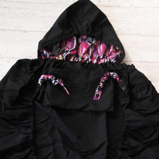抱っこ紐用4wayレインカバー(エルゴタイプ抱っこ紐&スリング対応)プレーンブラック&ピンクサークル(生地しっかり)