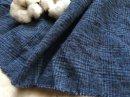 起毛 綿麻ネップ*ぽこぽこグレンチェック/藍色×ブラック