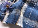 リネンコットン* indigoチェック /藍とからしライン