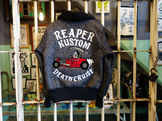 FLEECE BOA FULL-ZIP RACING JERSEY REAPER KUSTOM (ブラック)  MATTSONSxWACKY RACE フリースJKT