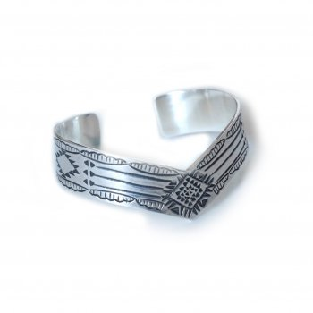 Hand Digging Silver Bangle