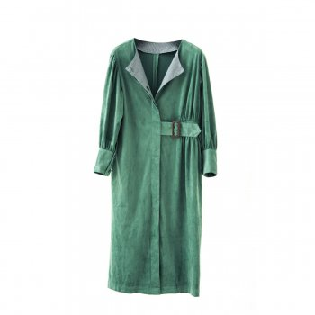 Eco suede coat dress