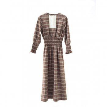 Check pattern shearing dress