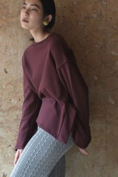 Hem slit cotton sweatshirt