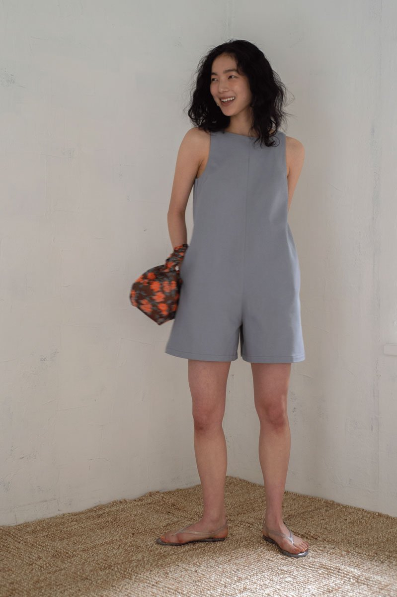 Box shorts allinone /GRAY BLUE