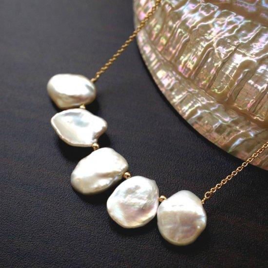 花びら真珠のビブネックレス 〜Pavla