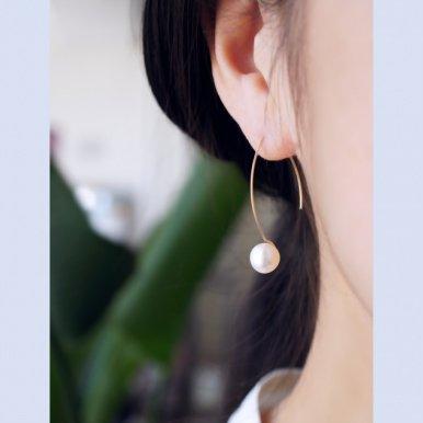 大粒淡水真珠のマーキスフックピアス 〜Edwige