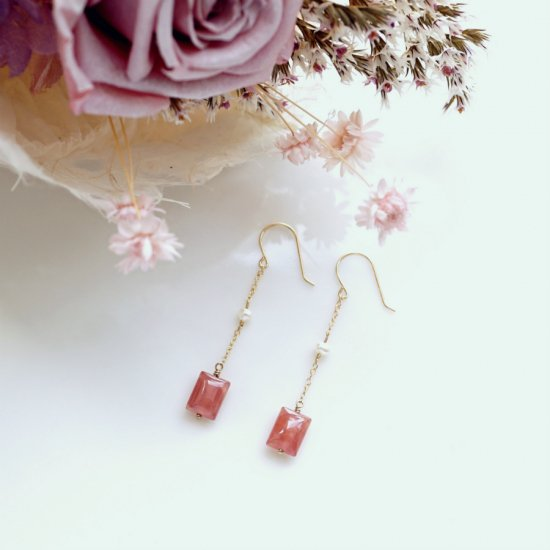 K18インカローズと真珠のロングピアス 〜Alison