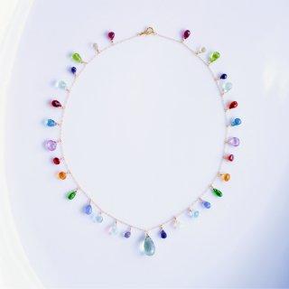 K18マルチカラー天然石のネックレス 〜Psyche