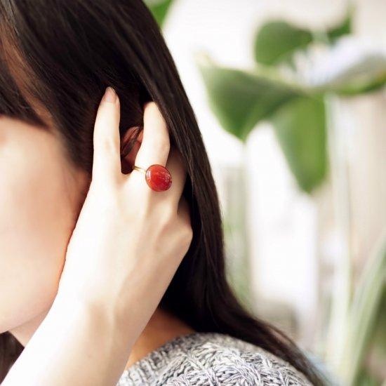 フリーサイズ★大粒レッドアゲートのリング 〜Rufina