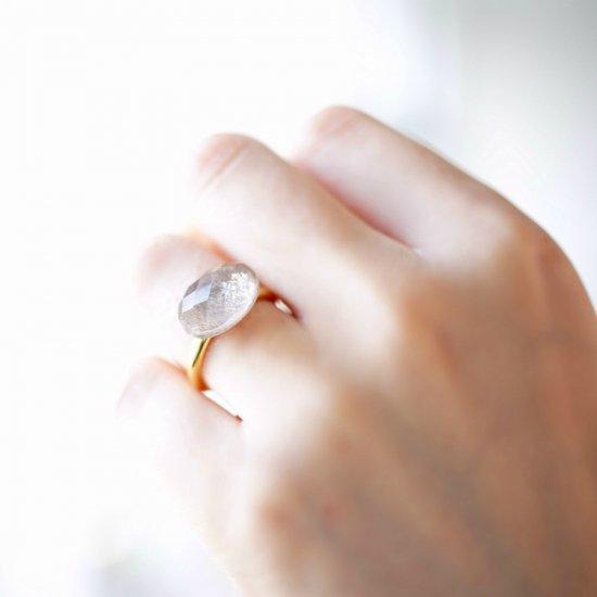 フリーサイズ★ゴールデンシャインムーンストーン×水晶のリング ~Gaia