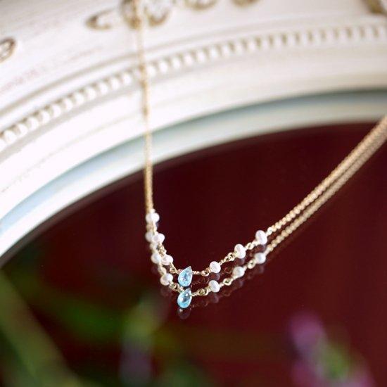 ブルーアパタイトと淡水真珠のネックレス 〜Aleid