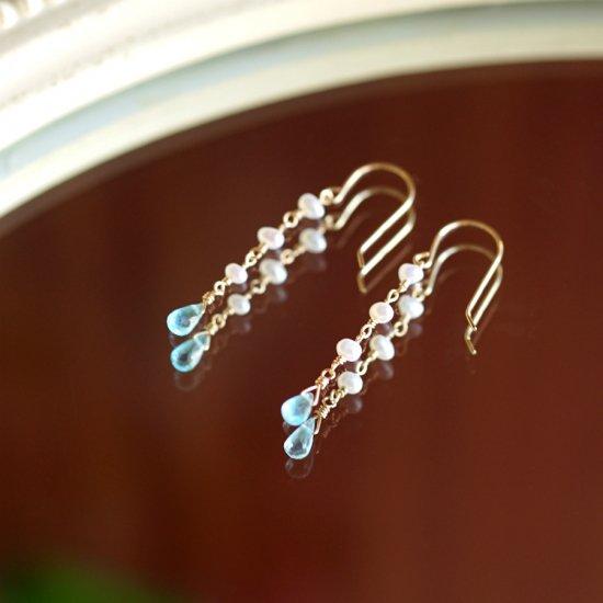 K18ブルーアパタイトと淡水真珠のピアス 〜Irena