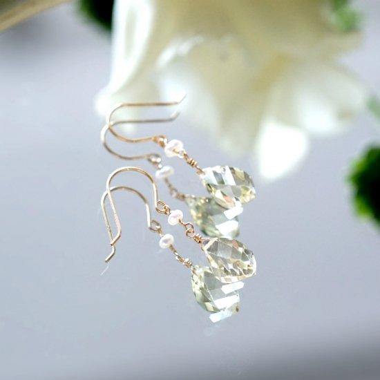 K18ツイストカットレモンクォーツと淡水真珠のピアス 〜Clotilde