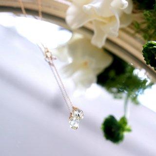 ツイストカットレモンクォーツと淡水真珠のY字ネックレス 〜Christelle