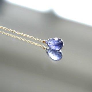 大粒アイオライトと淡水真珠のY字ネックレス 〜Marliave
