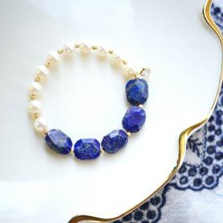 真珠とラピスラズリのブレスレット 〜Iva