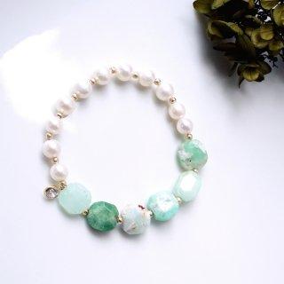 真珠と母岩付きクリソプレーズのブレスレット 〜Jarmila