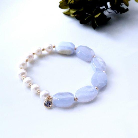 真珠とブルーレースのブレスレット 〜Fabrizia