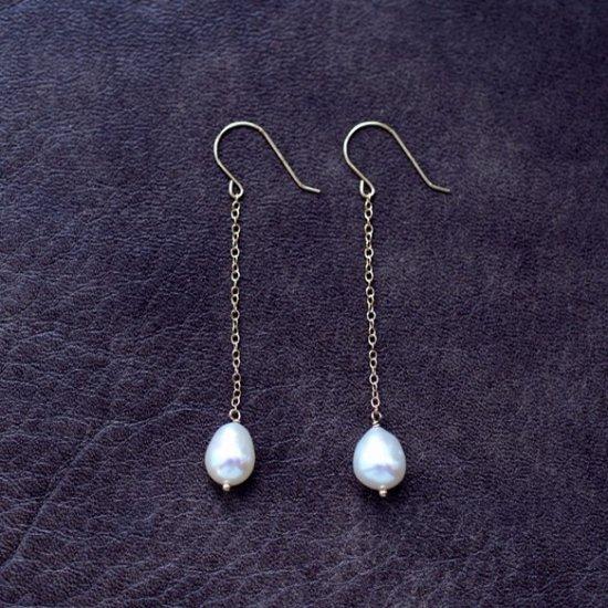K18ドロップ真珠のロングピアス 〜Emiliana