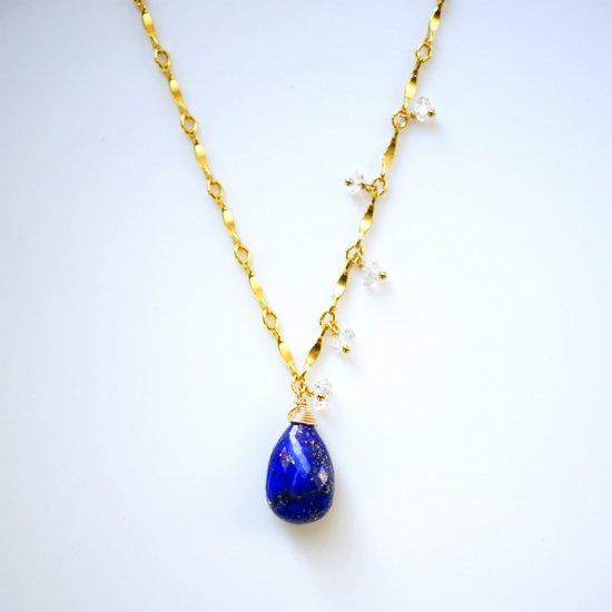 大粒ラピスラズリとハーキマーダイヤモンドのネックレス 〜Theresa
