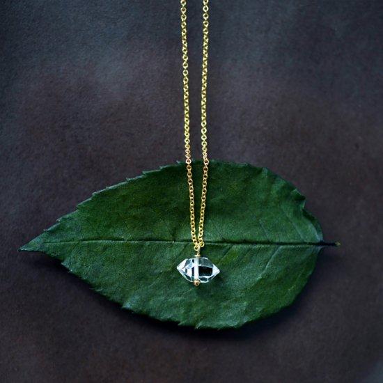 大粒ハーキマーダイヤモンドの一粒ネックレス 〜Albina