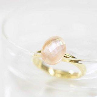 フリーサイズ★ピンクシェル・水晶のリング 〜Irmeli