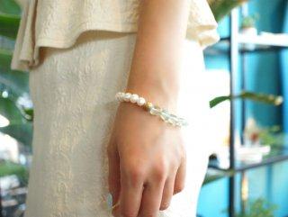 真珠とグリーンフローライトのブレスレット 〜Cilla