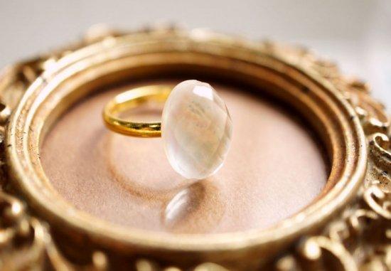 フリーサイズ★シェル&水晶のリング 〜Molly