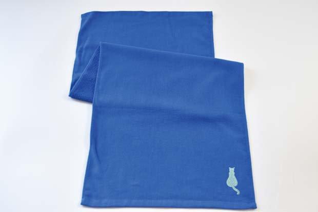 猫-55(ラメネコ-A/blue) ×フェイスタオル
