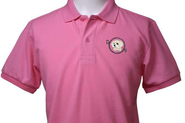犬ー52(マルチーズ)×半袖ポロシャツ