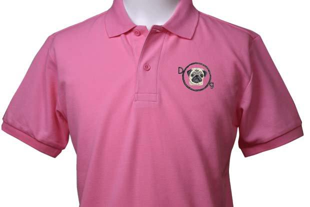 犬ー55(パグ C)×半袖ポロシャツ