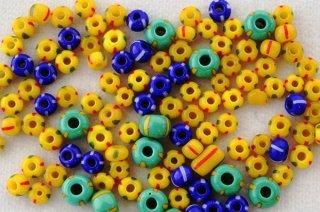 ビーズ 10g/ストライプ 黄、黄緑、青MIX