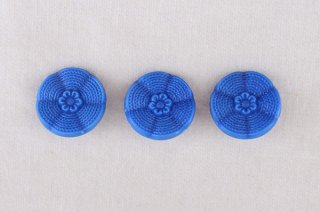 アンティークガラスボタン/青フリル花