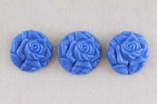 アンティークガラスボタン/青いバラ