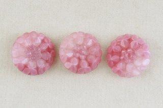アンティークガラスボタン/ピンクの三つ葉
