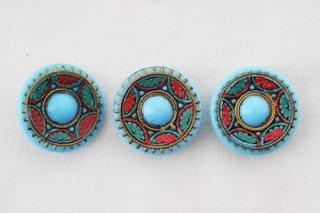 アンティークガラスボタン/青いすいか